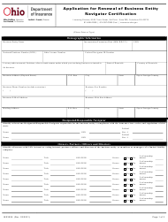 """Form INS3006 """"Application for Renewal of Business Entity Navigator Certification"""" - Ohio"""
