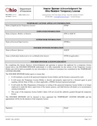 "Form INS3007 ""Insurer Sponsor Acknowledgment for Ohio Resident Temporary License"" - Ohio"