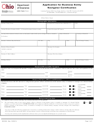 """Form INS3004 """"Application for Business Entity Navigator Certification"""" - Ohio"""