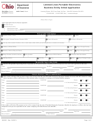 """Form INS3001 """"Limited Lines Portable Electronics Business Entity Initial Application"""" - Ohio"""