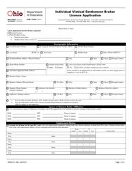 "Form INS3218 ""Individual Viatical Settlement Broker License Application"" - Ohio"