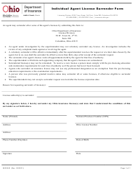 "Form INS3240 ""Individual Agent License Surrender Form"" - Ohio"
