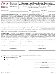 """Form INS7257 """"Disclosure and Authorization Concerning Background Reports - Mergers and Acquisitions"""" - Ohio"""