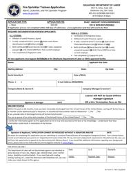"""AL Form 5 """"Fire Sprinkler Trainee Application"""" - Oklahoma"""