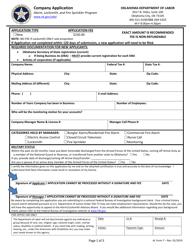 """AL Form 7 """"Company Application"""" - Oklahoma"""