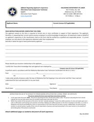 """Affidavit Regarding Applicant's Experience - Alternative Fuels Compression Technician"" - Oklahoma"