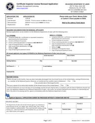 "Elevator Form 7 ""Certificate Inspector License Renewal Application"" - Oklahoma"