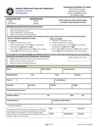 "ASB Form 2 ""Asbestos Abatement Supervisor Application"" - Oklahoma"