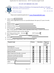 """""""Application for Adult Services - Dcyf Transition Aged Youth"""" - Rhode Island"""