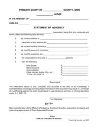 "Form 26.8 ""Statement of Indigency"" - Ohio"