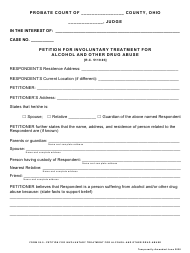 """Form 26.0 """"Petition for Involuntary Treatment for Alcohol and Other Drug Abuse"""" - Ohio"""