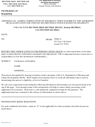 """Form HUD-90102 Appendix 6-B """"Sample Verification of Disability - Section 202/8, Section 202 Pac, Section 202 Prac, and Section 811 Prac"""" - Texas"""