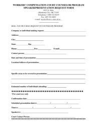 """Workers' Compensation Court Counselor Program Speaker/Presentation Request Form"" - Oklahoma"