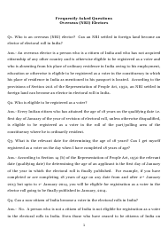 """""""Frequently Asked Questions Overseas (Nri) Electors"""" - India"""