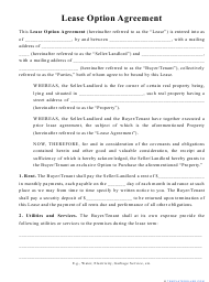 """""""Lease Option Agreement Template"""""""