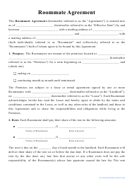 """""""Roommate Agreement Template"""""""