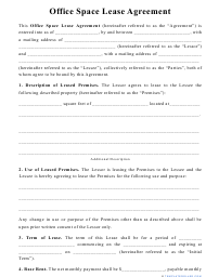 """""""Office Space Lease Agreement Template"""""""