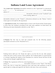 """""""Land Lease Agreement Template"""" - Indiana"""