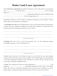 """""""Land Lease Agreement Template"""" - Maine"""