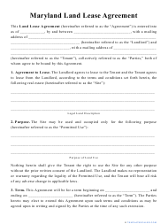 """""""Land Lease Agreement Template"""" - Maryland"""