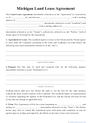 """""""Land Lease Agreement Template"""" - Michigan"""