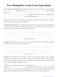 """""""Land Lease Agreement Template"""" - New Hampshire"""