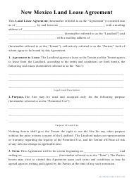 """""""Land Lease Agreement Template"""" - New Mexico"""