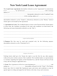 """""""Land Lease Agreement Template"""" - New York"""