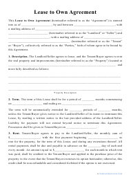 """""""Lease to Own Agreement Template"""""""