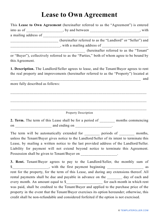 """""""Lease to Own Agreement Template"""" Download Pdf"""