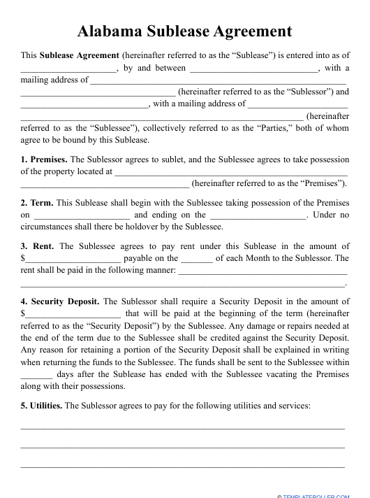 """""""Sublease Agreement Template"""" - Alabama Download Pdf"""