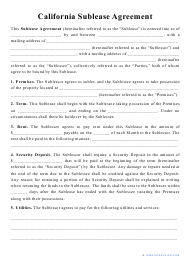 """""""Sublease Agreement Template"""" - California"""