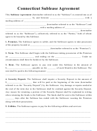"""""""Sublease Agreement Template"""" - Connecticut"""