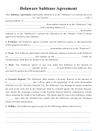 """""""Sublease Agreement Template"""" - Delaware"""