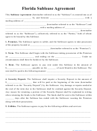 """""""Sublease Agreement Template"""" - Florida"""