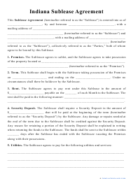 """""""Sublease Agreement Template"""" - Indiana"""