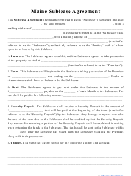 """""""Sublease Agreement Template"""" - Maine"""
