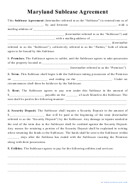 """""""Sublease Agreement Template"""" - Maryland"""