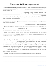 """""""Sublease Agreement Template"""" - Montana"""