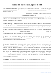 """""""Sublease Agreement Template"""" - Nevada"""