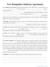 """""""Sublease Agreement Template"""" - New Hampshire"""