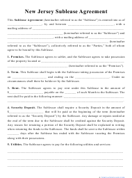 """""""Sublease Agreement Template"""" - New Jersey"""