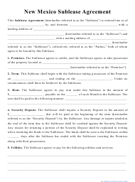 """""""Sublease Agreement Template"""" - New Mexico"""