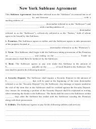 """""""Sublease Agreement Template"""" - New York"""