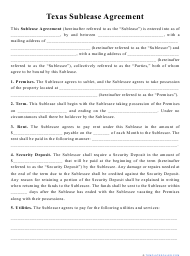 """""""Sublease Agreement Template"""" - Texas"""