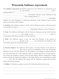 """""""Sublease Agreement Template"""" - Wisconsin"""