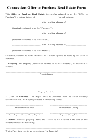 """""""Offer to Purchase Real Estate Form"""" - Connecticut"""
