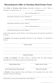 """""""Offer to Purchase Real Estate Form"""" - Massachusetts"""