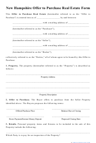 """""""Offer to Purchase Real Estate Form"""" - New Hampshire"""