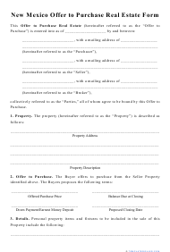 """""""Offer to Purchase Real Estate Form"""" - New Mexico"""